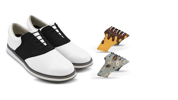 Men's Food Bundle Saddles On White Golf Shoe From Jack Grace USA