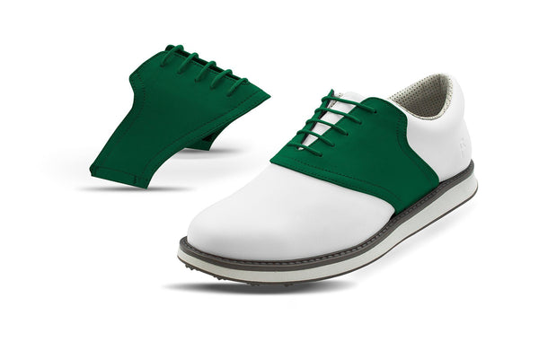 Men's Forrest Green Saddles On White Golf Shoe From Jack Grace USA