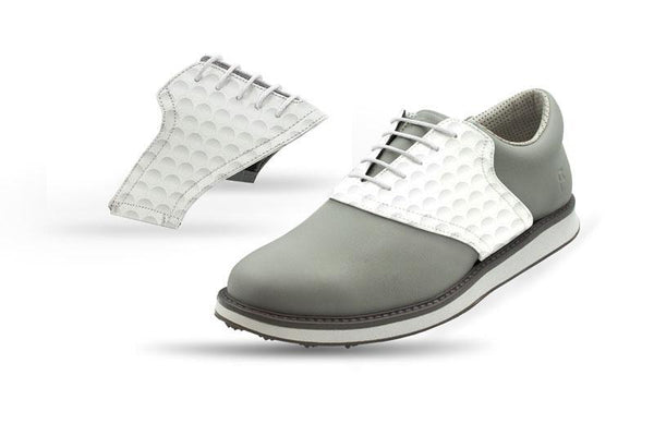 Men's Golf Dimple Saddles On Grey Golf Shoe From Jack Grace USA