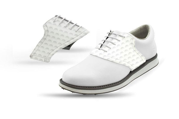 Men's Golf Dimple Saddles On White Golf Shoe From Jack Grace USA