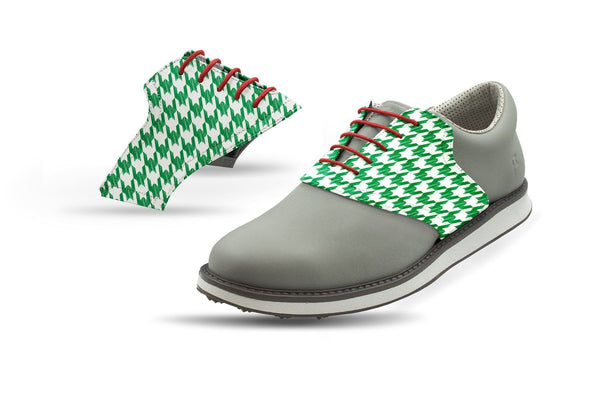 Men's Green Houndstooth Saddles On Grey Golf Shoe From Jack Grace USA