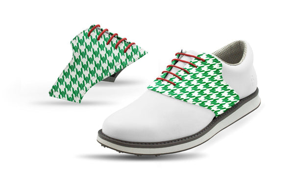 Men's Green Houndstooth Saddles On White Golf Shoe From Jack Grace USA
