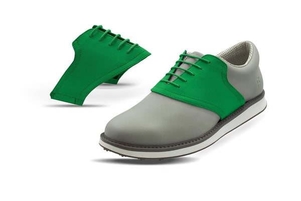 Men's Green Saddles On Black Golf Shoe From Jack Grace USA
