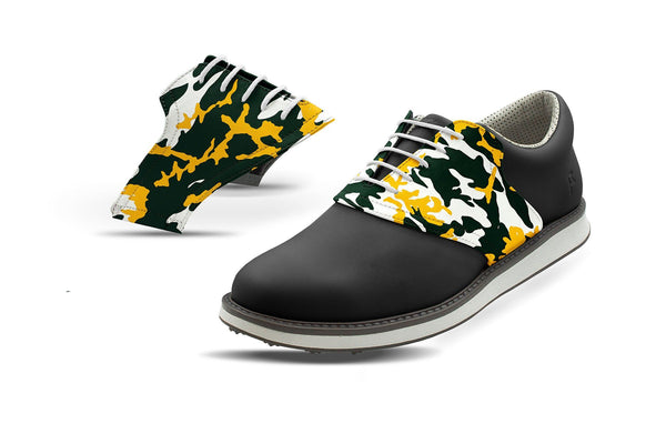 Men's Greenbay Pro Football Camo Saddles On Black Golf Shoe From Jack Grace USA