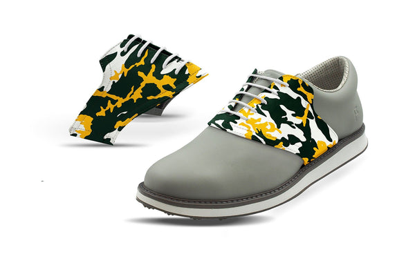 Men's Greenbay Pro Football Camo Saddles On Grey Golf Shoe From Jack Grace USA