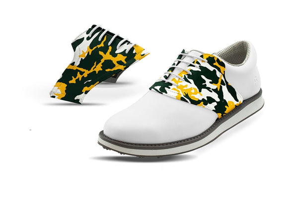 Men's Greenbay Pro Football Camo Saddles On White Golf Shoe From Jack Grace USA