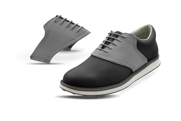 Men's Grey Saddles On Black Golf Shoe From Jack Grace USA