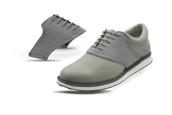 Men's Grey Saddles On Grey Golf Shoe From Jack Grace USA