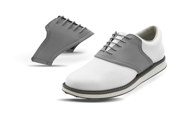 Men's Grey Saddles On White Golf Shoe From Jack Grace USA