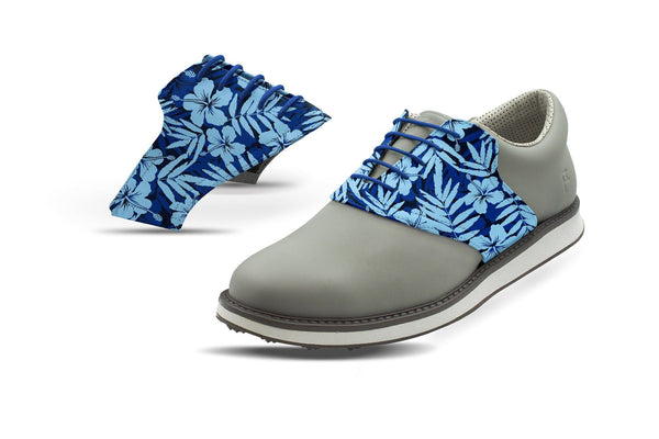 Men's Hibiscus Print On Cobalt Saddles On Black Golf Shoe From Jack Grace USA