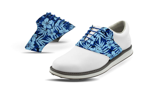 Men's Hibiscus Print On Cobalt Saddles On White Golf Shoe From Jack Grace USA