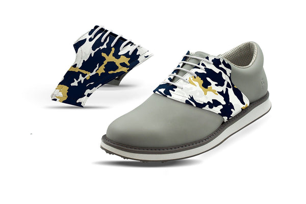 Men's La Pro Football Camo Saddles On Grey Golf Shoe From Jack Grace USA