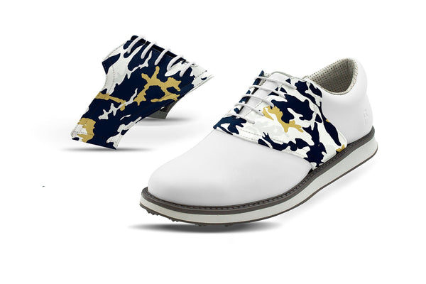 Men's La Pro Football Camo Saddles On White Golf Shoe From Jack Grace USA