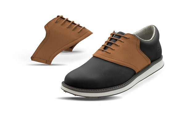 Men's Latte Saddles On Black Golf Shoe From Jack Grace USA
