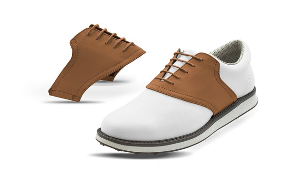 Men's Latte Saddles On White Golf Shoe From Jack Grace USA