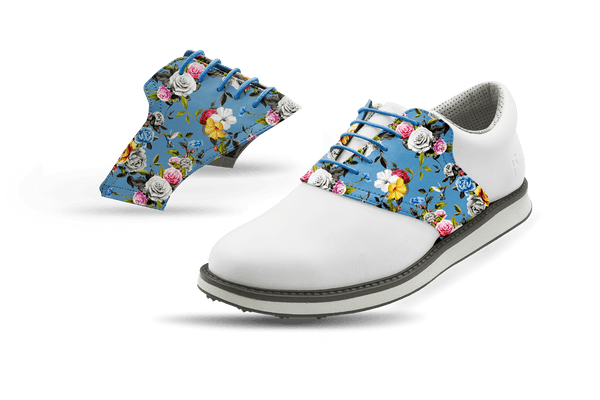 Men's Light Roses Saddles On White Golf Shoe From Jack Grace USA