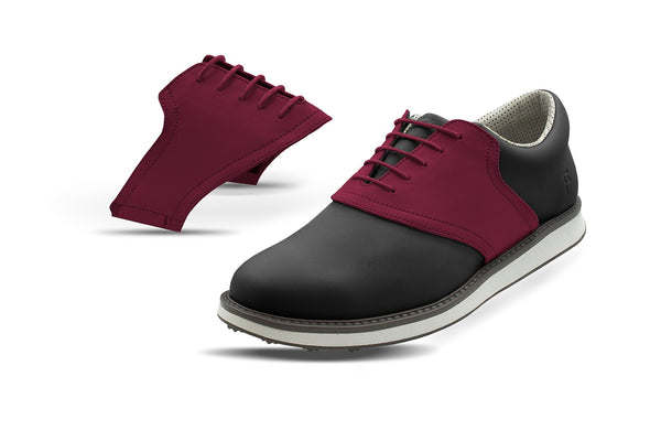 Men's Maroon Saddles On Black Golf Shoe From Jack Grace USA