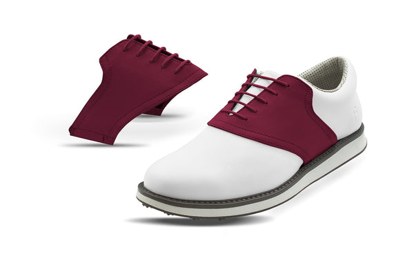 Men's Maroon Saddles On White Golf Shoe From Jack Grace USA