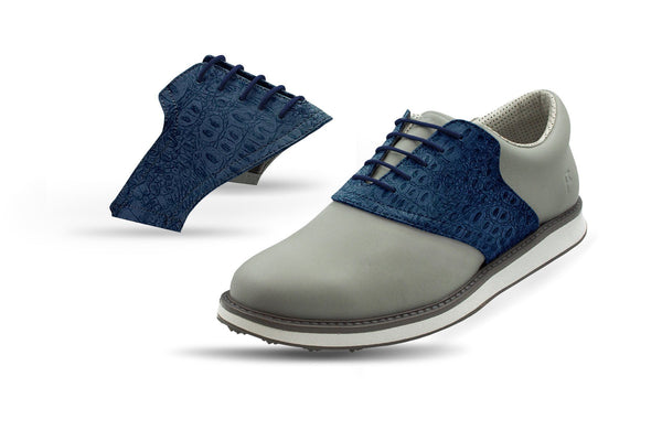Men's Navy Croc Saddles On Grey Golf Shoe From Jack Grace USA