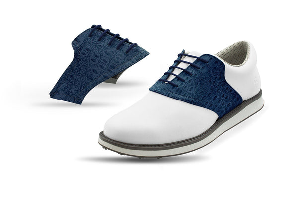 Men's Navy Croc Saddles On White Golf Shoe From Jack Grace USA