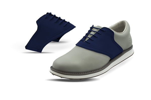 Men's Navy Saddles On Grey Golf Shoe From Jack Grace USA