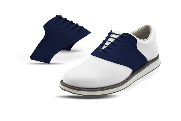 Men's Navy Saddles On White Golf Shoe From Jack Grace USA