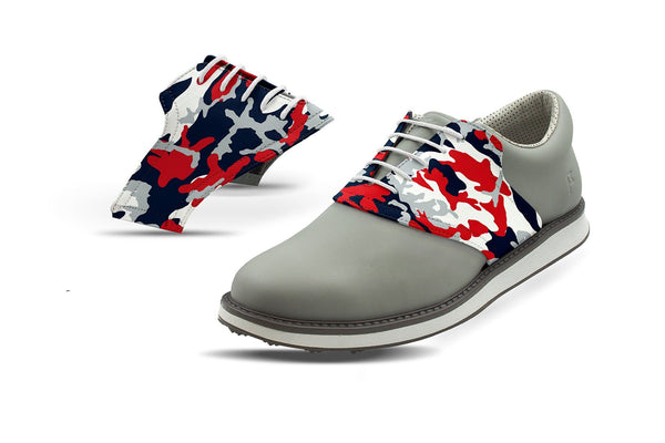 Men's New England Pro Football Camo Saddles On Grey Golf Shoe From Jack Grace USA