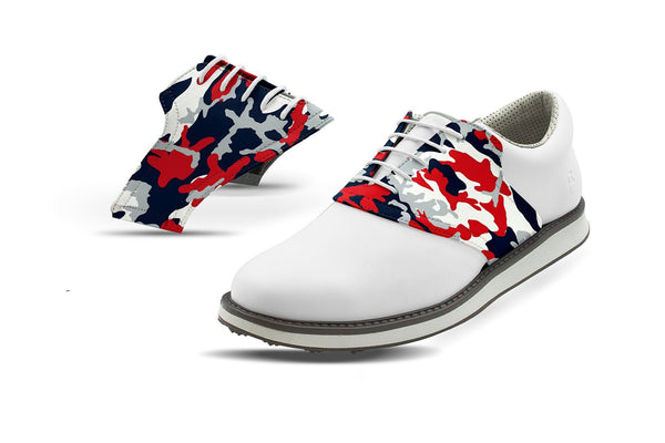 Men's New England Pro Football Camo Saddles On White Golf Shoe From Jack Grace USA