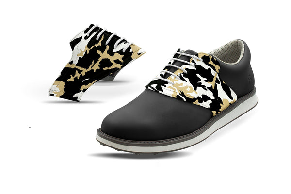 Men's New Orleans Pro Football Camo Saddles On Black Golf Shoe From Jack Grace USA