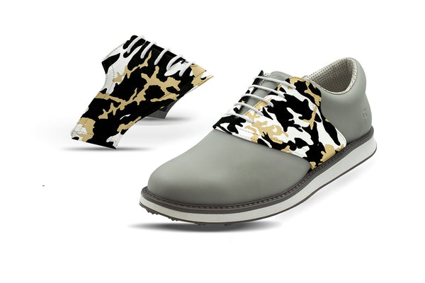 Men's New Orleans Pro Football Camo Saddles On Grey Golf Shoe From Jack Grace USA