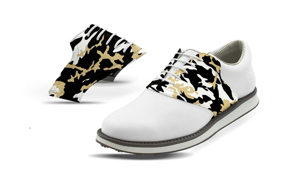 Men's New Orleans Pro Football Camo Saddles On White Golf Shoe From Jack Grace USA