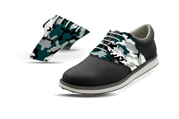 Men's Philadelphia Pro Football Camo Saddles On Black Golf Shoe From Jack Grace USA