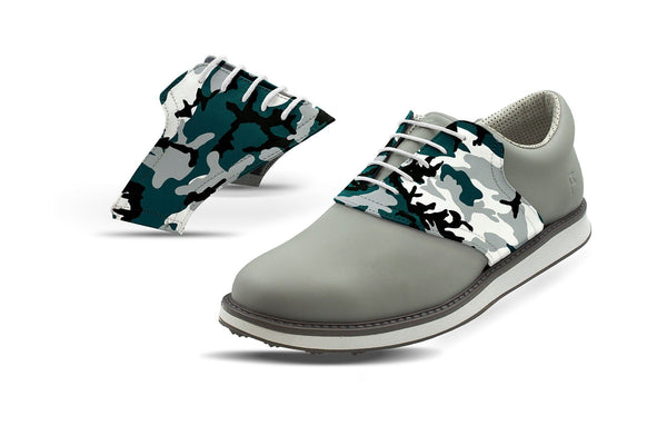 Men's Philadelphia Pro Football Camo Saddles On Grey Golf Shoe From Jack Grace USA