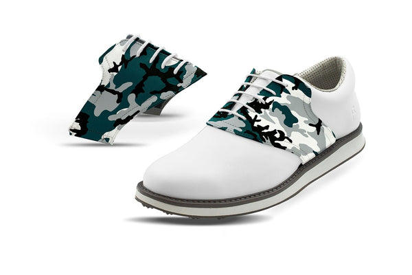 Men's Philadelphia Pro Football Camo Saddles On White Golf Shoe From Jack Grace USA