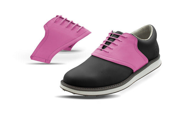 Men's Pink Saddles On Black Golf Shoe From Jack Grace USA