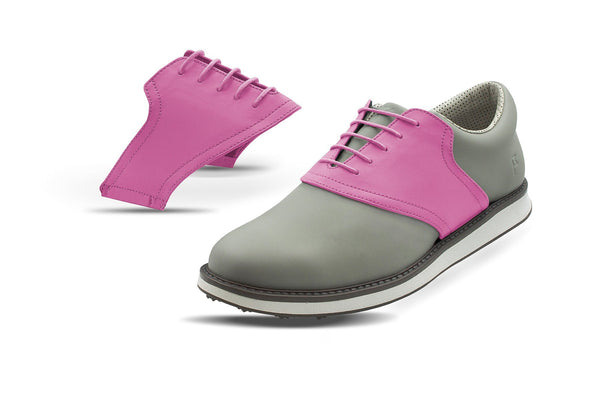 Men's Pink Saddles On Grey Golf Shoe From Jack Grace USA