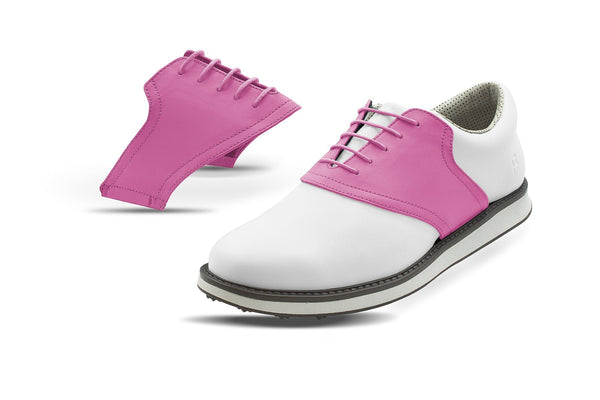 Men's Pink Saddles On White Golf Shoe From Jack Grace USA