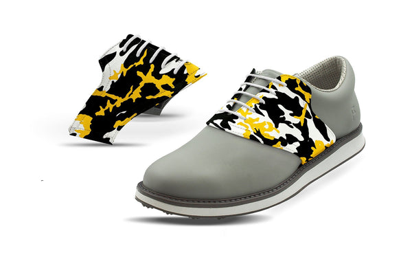 Men's Pittsburgh Pro Football Camo Saddles On Grey Golf Shoe From Jack Grace USA