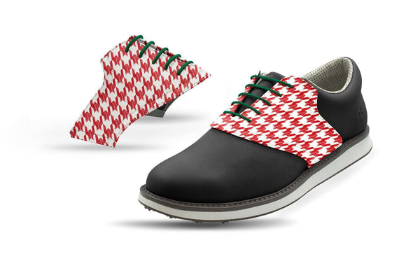 Men's Red Houndstooth Saddles Saddles On Black Golf Shoe From Jack Grace USA