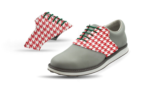Men's Red Houndstooth Saddles Saddles On Grey Golf Shoe From Jack Grace USA