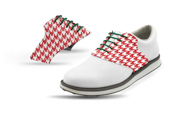 Men's Red Houndstooth Saddles Saddles On White Golf Shoe From Jack Grace USA