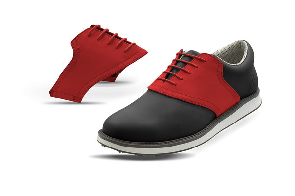 Men's Red Saddles On Black Golf Shoe From Jack Grace USA