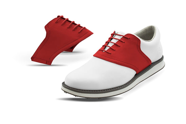 Men's Red Saddles On White Golf Shoe From Jack Grace USA