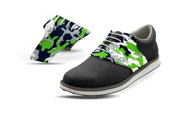 Men's Seattle Pro Football Camo Saddles On Black Golf Shoe From Jack Grace USA