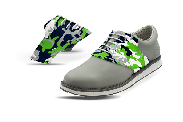 Men's Seattle Pro Football Camo Saddles On Grey Golf Shoe From Jack Grace USA