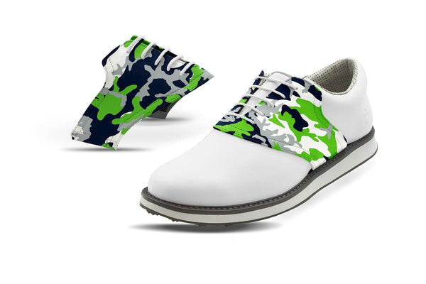 Men's Seattle Pro Football Camo Saddles On White Golf Shoe From Jack Grace USA