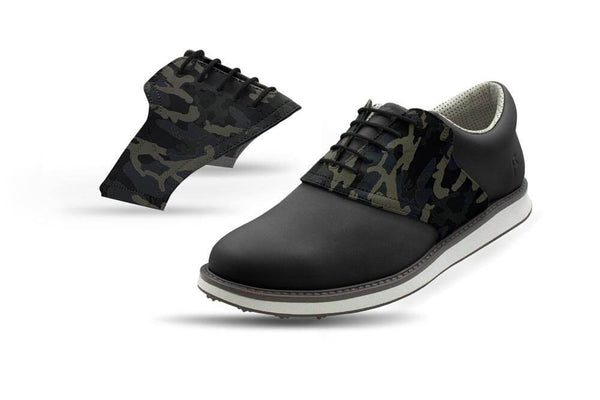 Men's Shadow Camo Saddles On Black Golf Shoe From Jack Grace USA