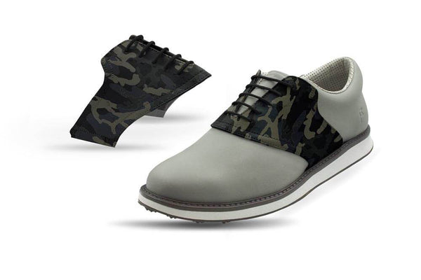 Men's Shadow Camo Saddles On Grey Golf Shoe From Jack Grace USA
