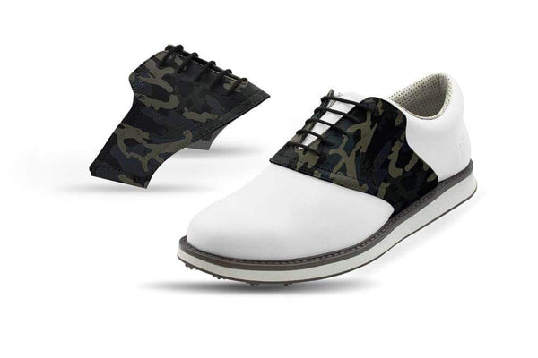 Men's Shadow Camo Saddles On White Golf Shoe From Jack Grace USA