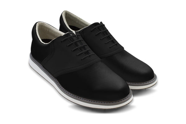 Men's Shoe Black 45 Degree Angle On Black Golf Shoe From Jack Grace USA